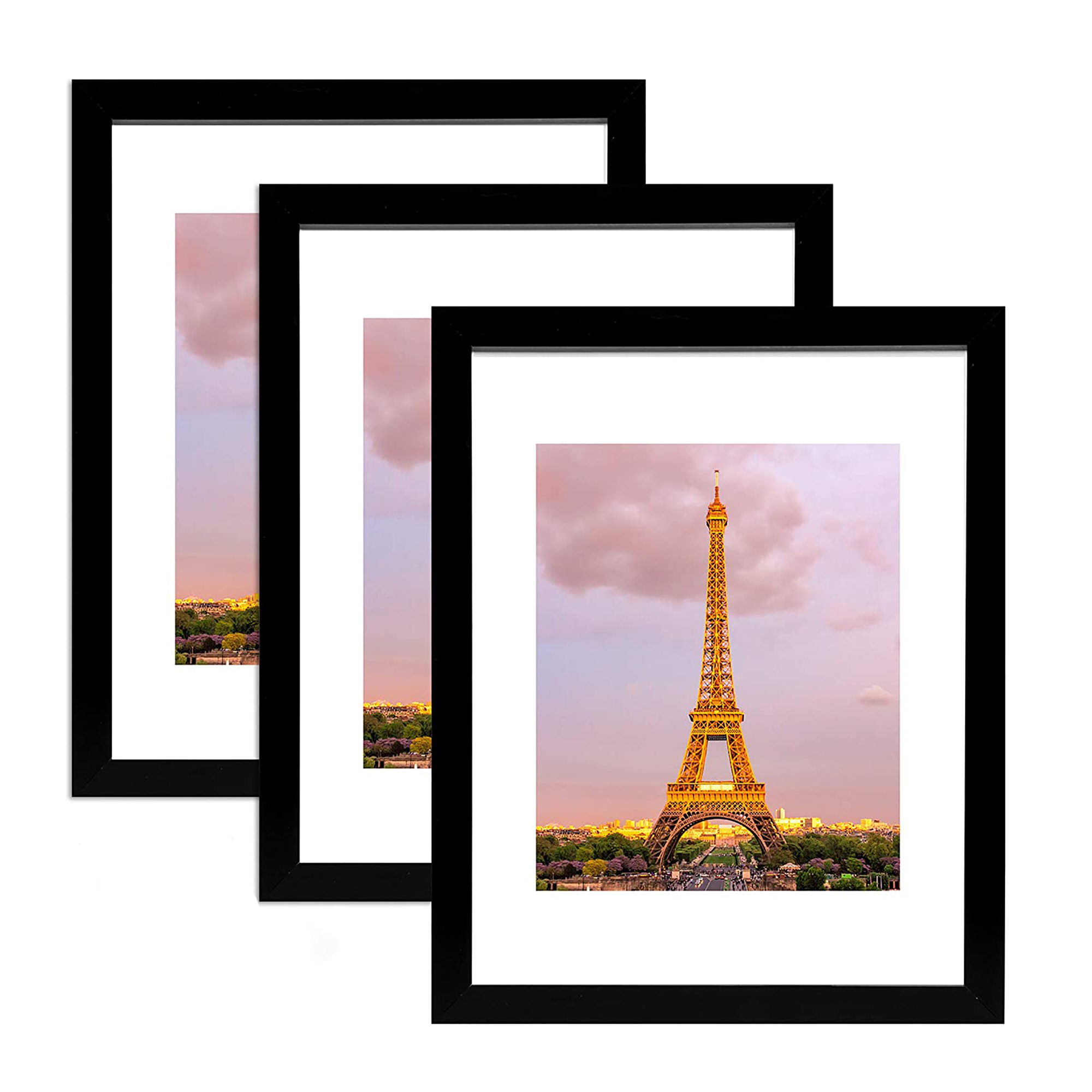 Photo Frame Set of 3pcs Picture Frames Collage A4 Size 8x12 inches Frames For Room With Front Glass Best Quality Frames For Wall and Table Picture Frames Set