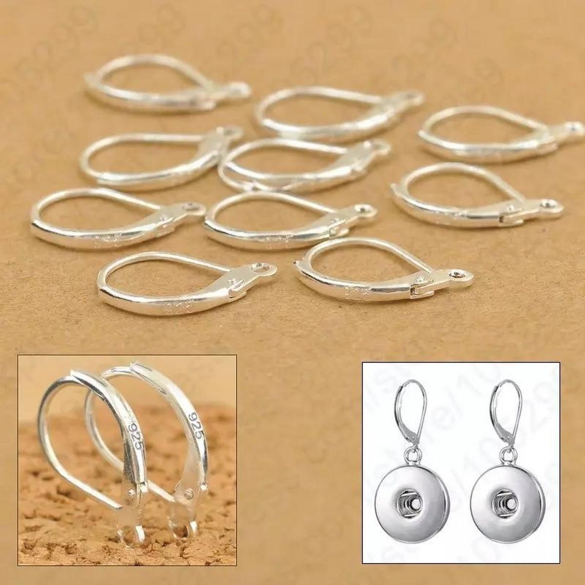 10pairs Jewellery Components 925 Sterling Silver Handmade Diy Beadings Findings Earring Hooks Leverback Earwire Fittings