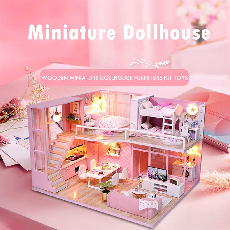 DIY Miniature Dollhouse Dream Angel Wooden Doll house Furniture Kit Toys for Kids Grils