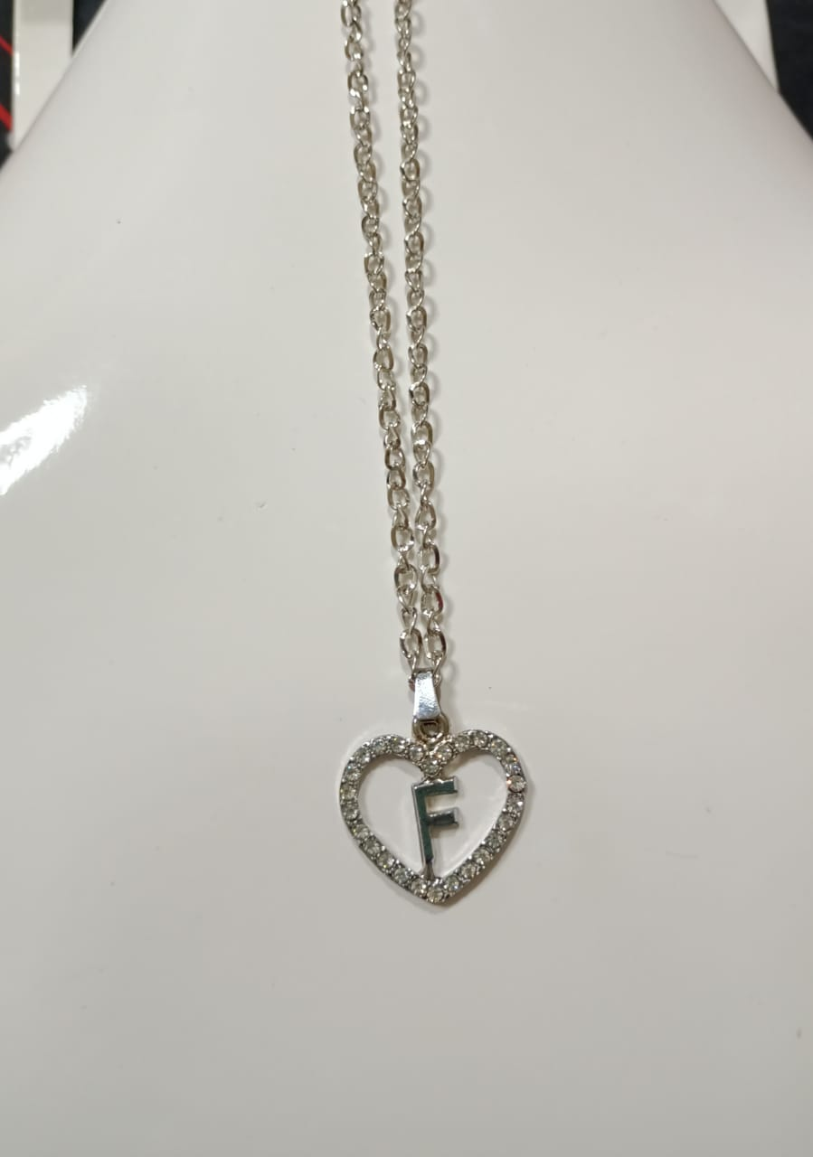 Silver Stainless Chain with Heart F Necklace/Locket/Pendants specially for girls/women/men