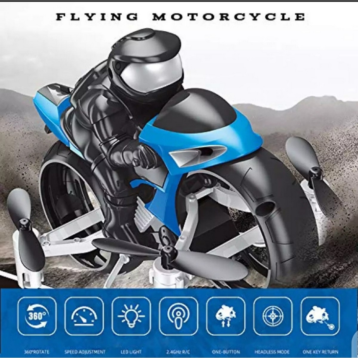 Flying Motorcycle 2.4Ghz RC Remote Control Helicopter, Land and air Amphibious 2 in 1 Remote Control