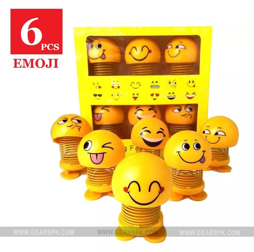6 Piece Cute Emoji Mini Cartoon Funny Emoji Shaking Head Car Accessories Doll Funny Smiley Spring Dancing Toy Car Decoration