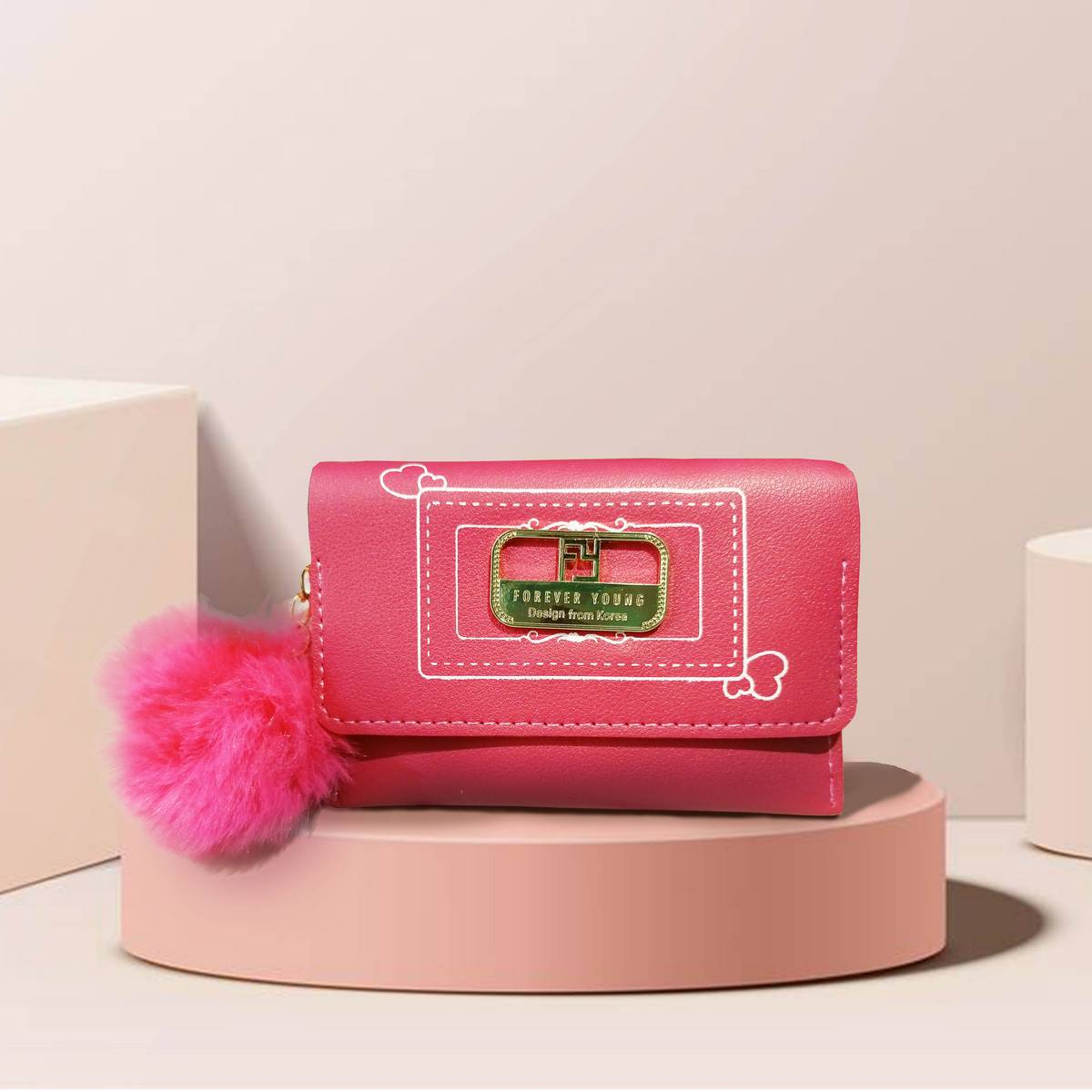 Forever Young Hand Wallet for Girls Mini Cute Hand Wallet Hot Pink Color
