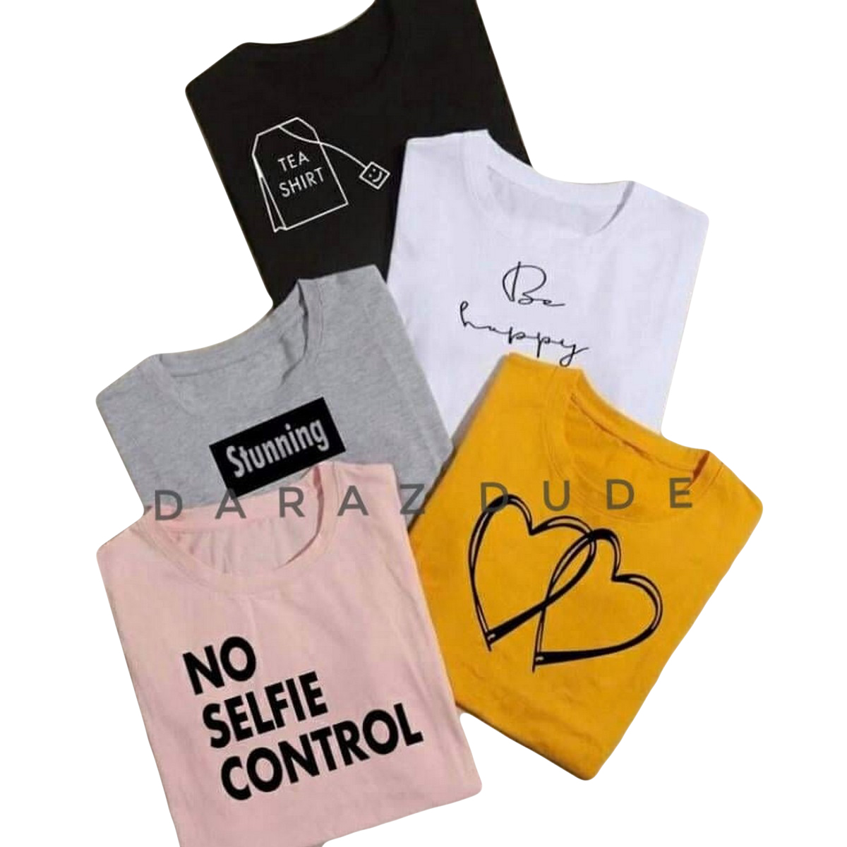 New Pack Of 5 Round Neck Half Sleeves Casual Printed T shirts Tops For Girls Women And Ladies