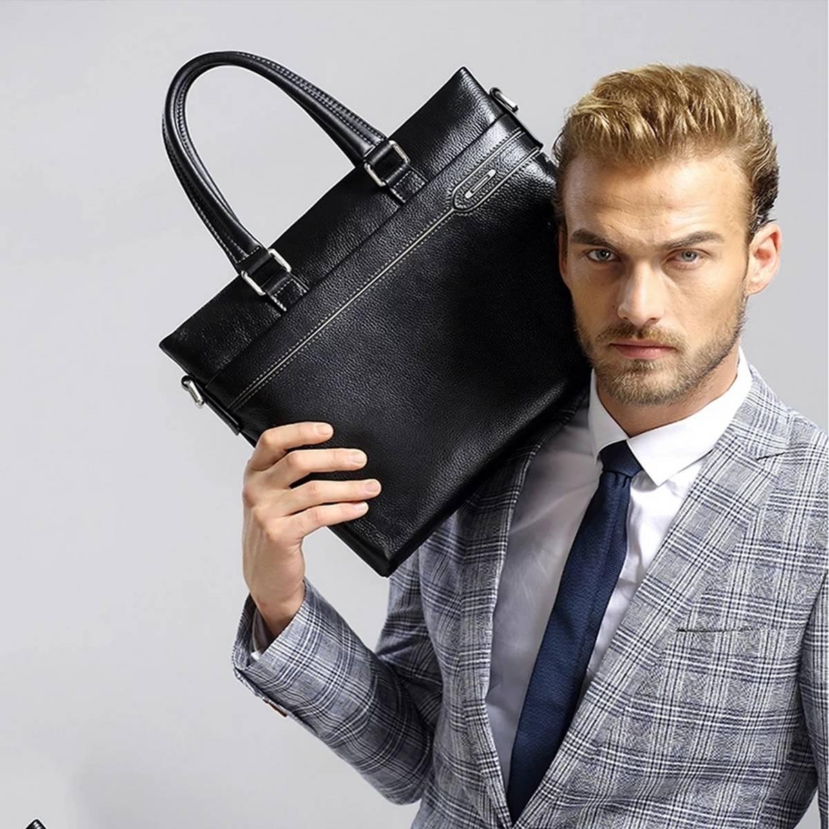PU Leather Briefcase Business Laptop Handbags Male Crossbody Shoulder Bag
