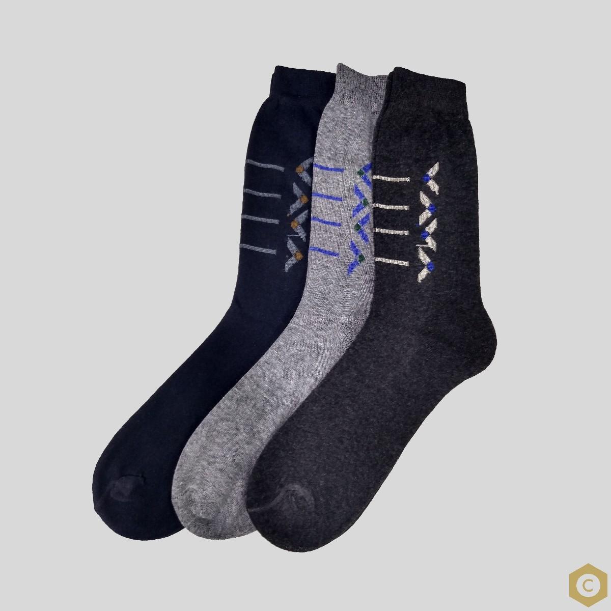 Code 3 Pairs Cotton Classic Socks For Men - Random colors
