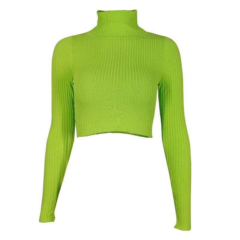 Fashion Knit Sweater Autumn Green Neon color Fashion Women High Neck Long Sleeve Slim Fit Sweaters and Sweaters Fluorescent Color T-shirts and blouses