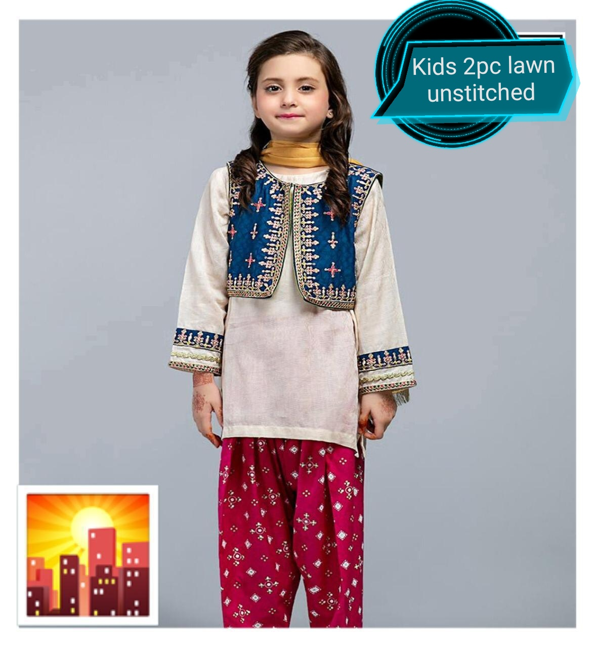 Lawn Embroidered suit for kids girls