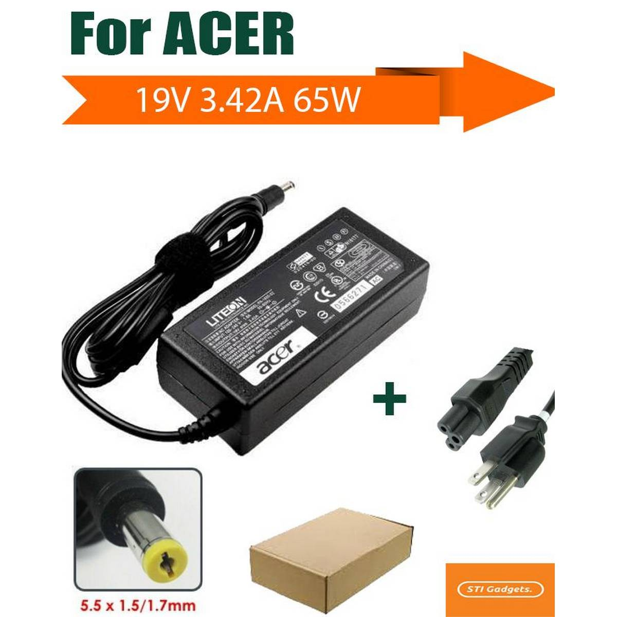 Aspire 3 A315-41 65W 19V 3.42A AC Adapter Charger Laptop Power Supply - Black