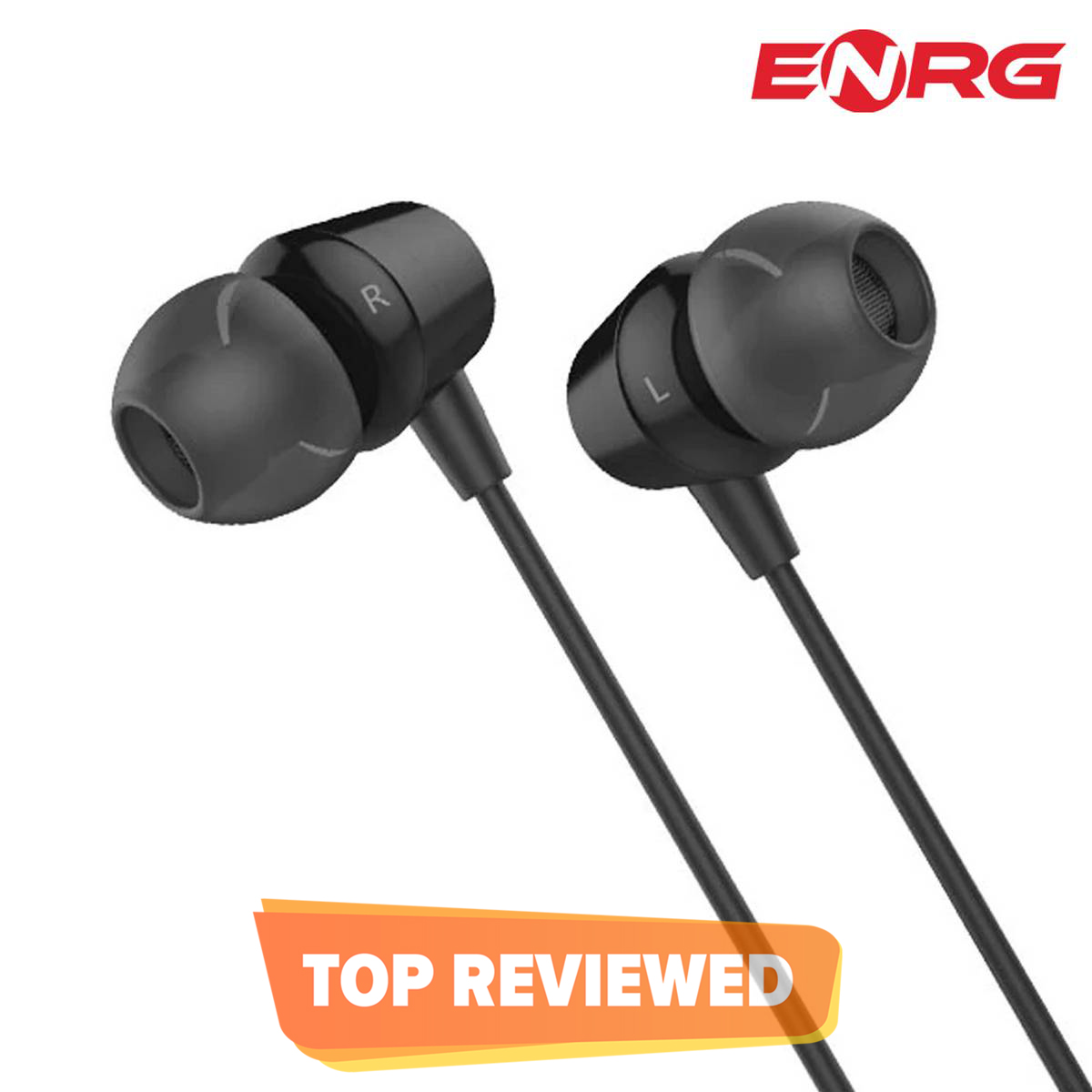 ENRG G4 Wired Earphones Sport In-Ear Deep Bass Stereo Earbuds Earphones Handfree for All Smartphones Android & IOS - Black