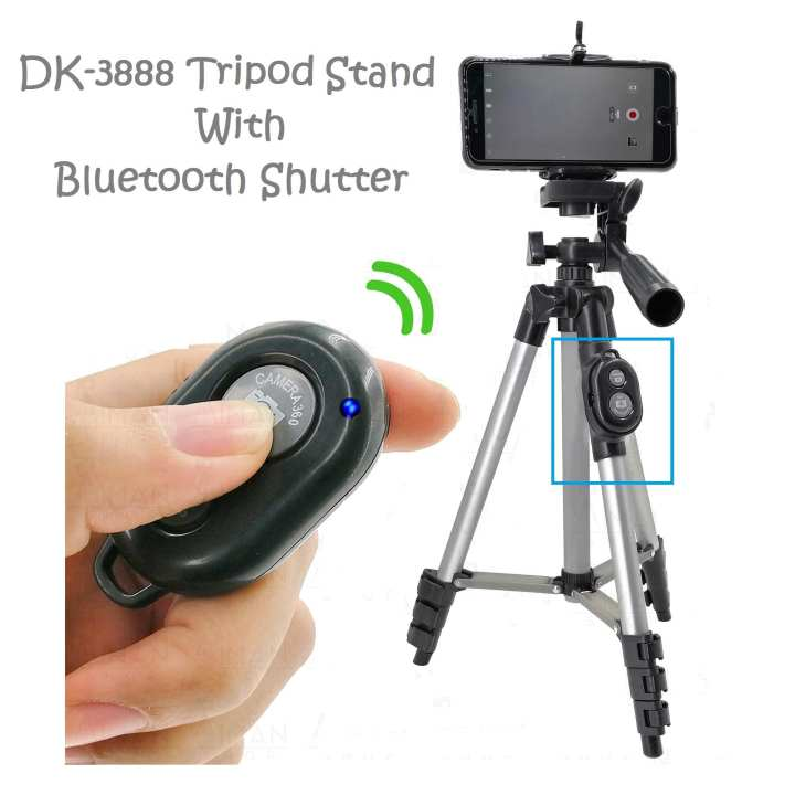 Dk 3888 - Portable & Foldable Camera Mobile Tripod With Bluetooth Wireless Remote Shutter - Silver