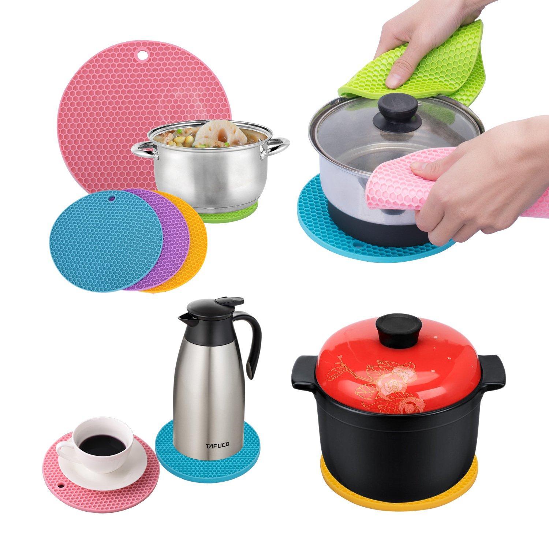 Round Heat Resistant Silicone Mat Trivet Pan Pot Holder Non Slip Kitchen Useful
