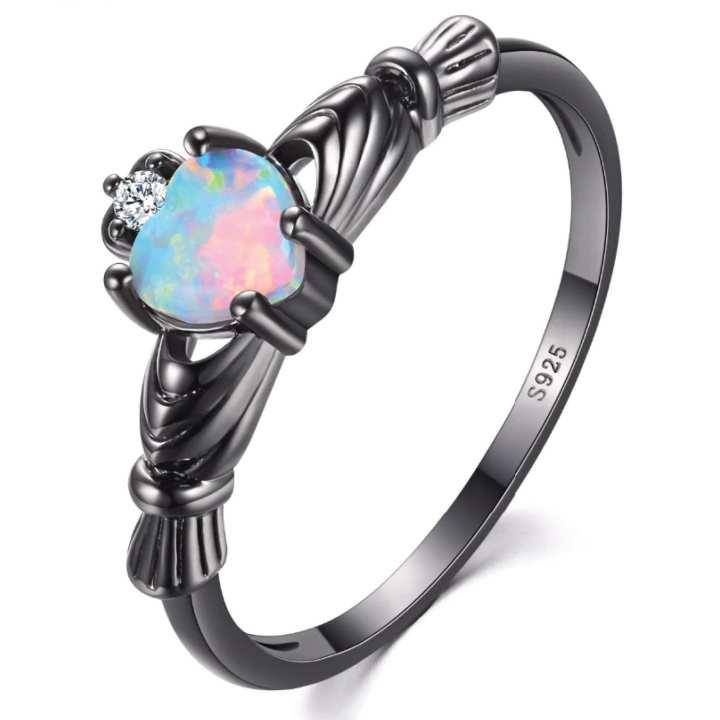 Charming Heart Shape Fire Opal Rings For Women