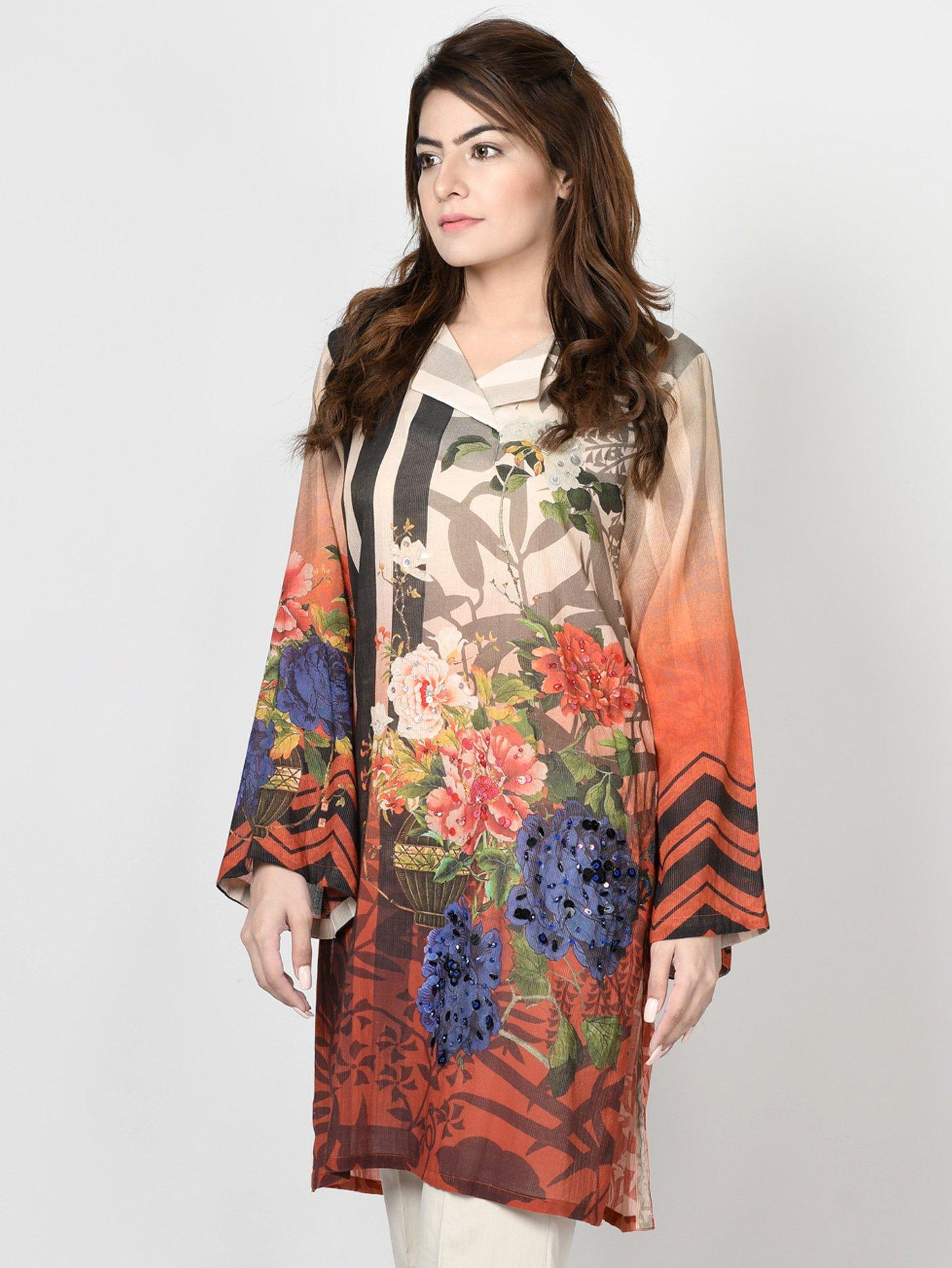 LimeLight Orange Printed Lawn 1pc Stitched Shirt For Women. (P1652-LRS-ORN)
