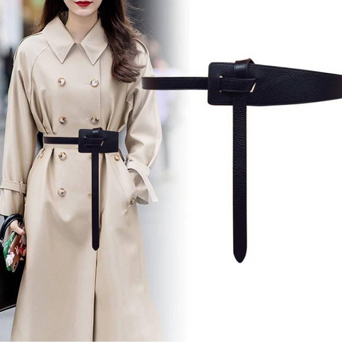 2020 New Wide Leather Corset Belt Female Tie Obi Thin Black Bow Leisure Belts for Lady Wedding Dress Waistband Women's Belts