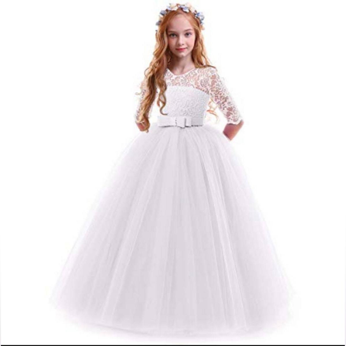 WHITE NET MAXI DRESS FOR BABY&GIRL