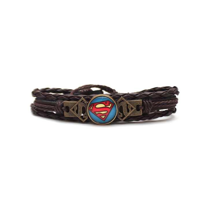 Dark Brown Round Superman Charm Bracelet