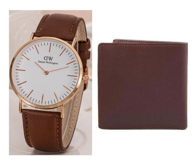 6f321070ec8 Pack of 2 - Brown Leather Wallet   Watch For Unisex
