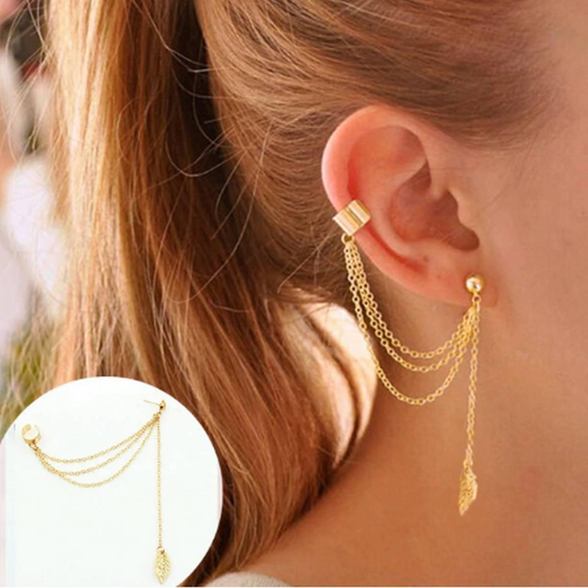 Fashion Novelty Unusual Metal Tassel Flower Leaf Stud Ear Cuff Clip On Earrings For Women