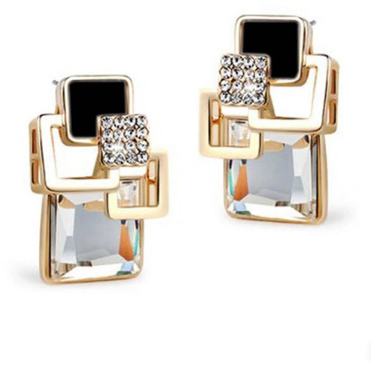 Big Geometric Stud Earrings For Women Classic Gold-Color Fine Jewelry