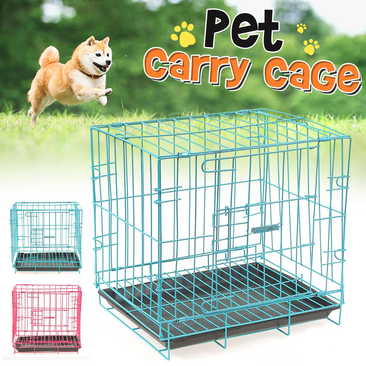 happy-island Dog Puppy Cat Pet Cage Kennel Collapsible Metal Crate w/Tray  Portable Carrier 35*28*35cm