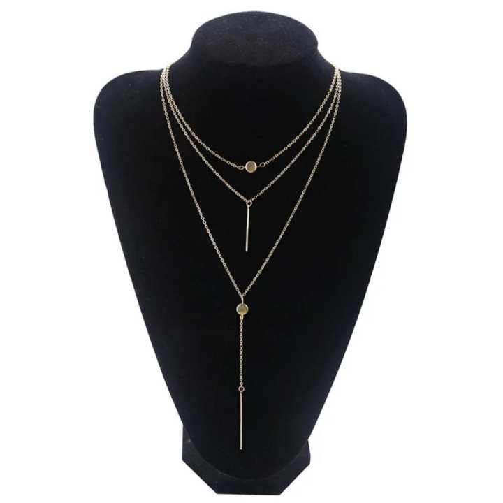 Gold - Multi Layer Necklace For Women Girls - CIN34