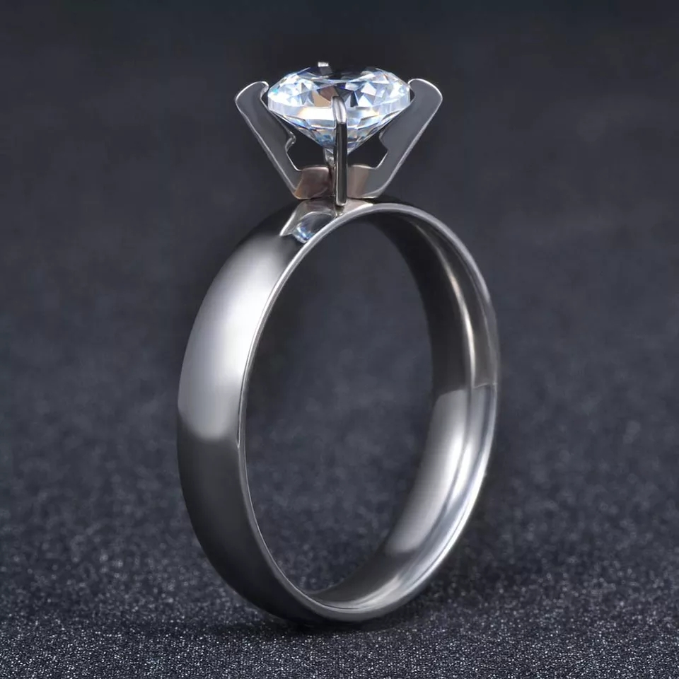 Stainless Steel Ring Cubic Zirconia Crystal Wedding Engagement best for gift purpose with beautiful BOX