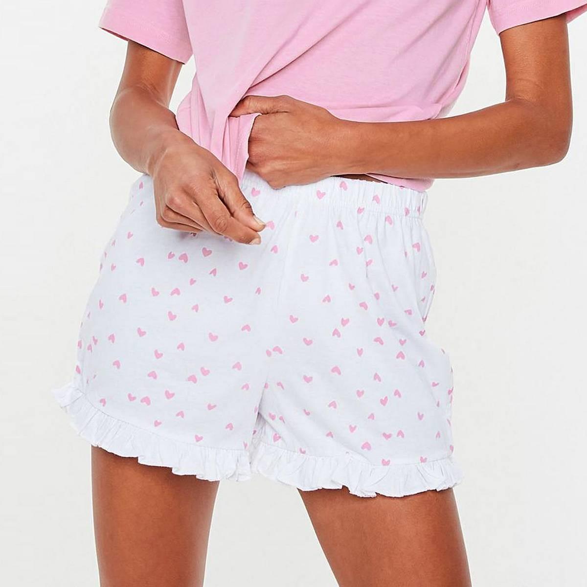 Missguided (BG-2) White Heart Print Frill Shorts
