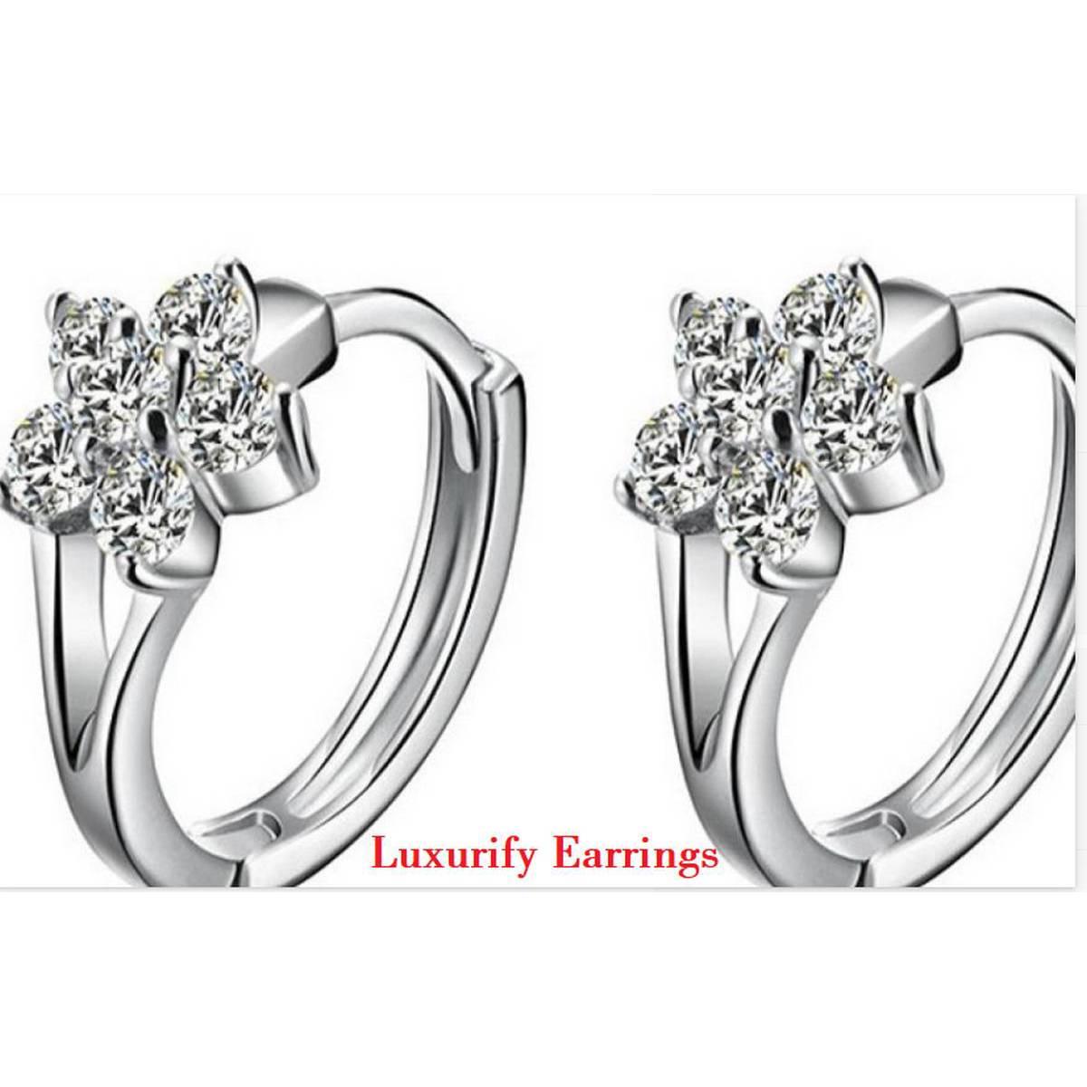 925 Sterling Silver Zircon Stud Earrings For Women