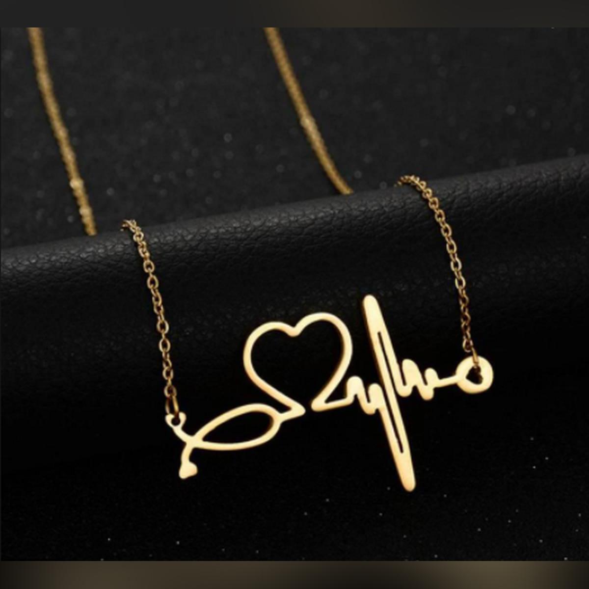 Stainless Steel Nurse Doctor Heart Stethoscope EKG Heartbeat Necklace For Girls