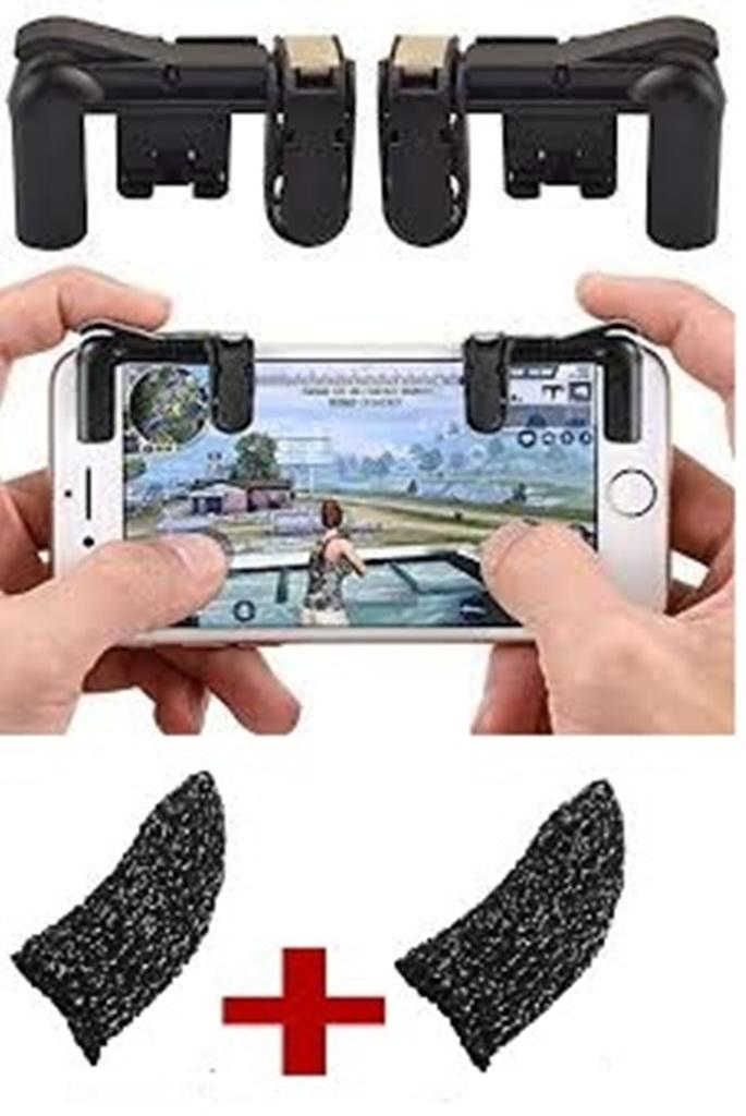Pack of 04 - Mobile Gaming Fire Button Trigger L1 R1 Shooter Controller For  PUBG/FORTNITE with Thumb Gloves