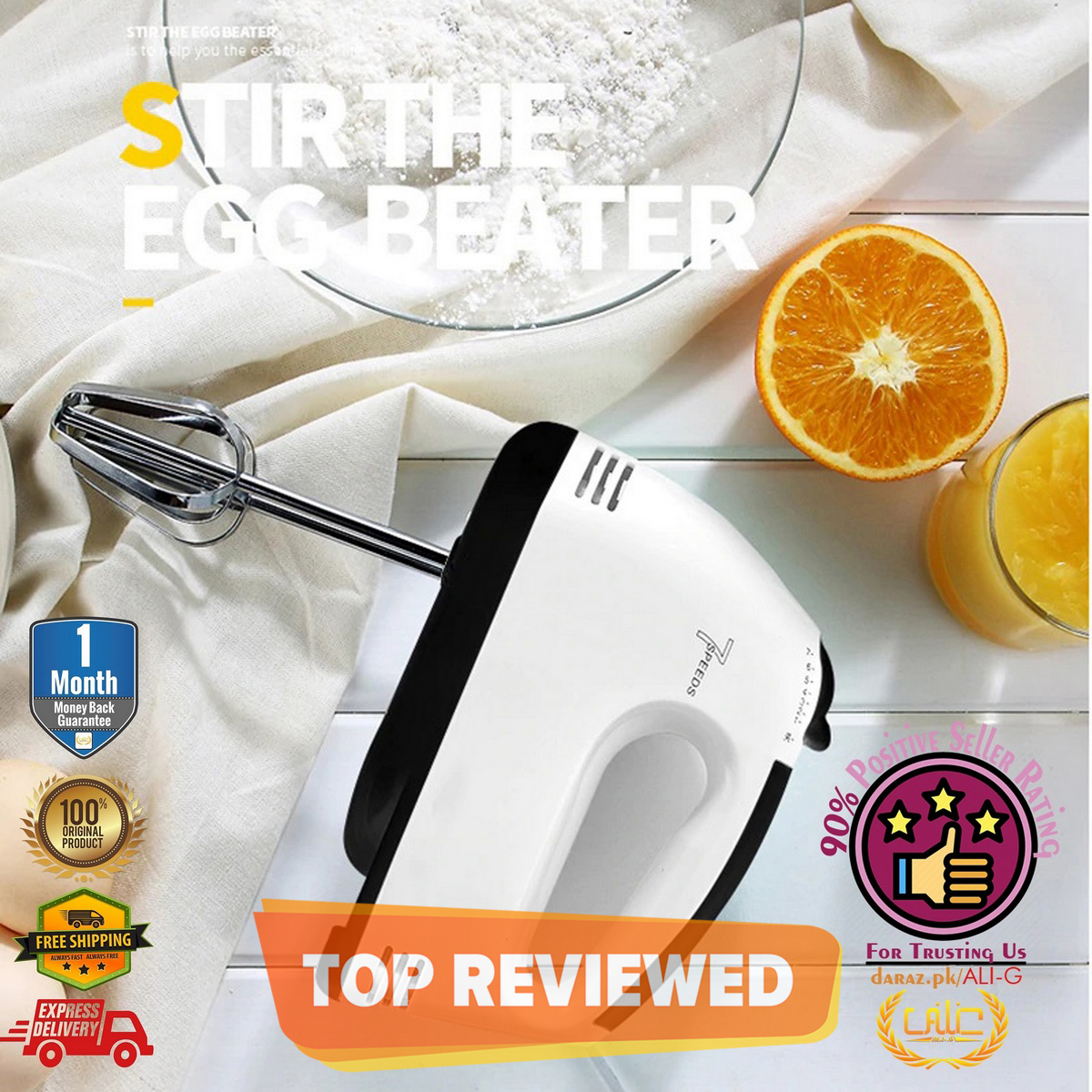 FLASH SALE Egg Beater Machine Electric 7 Speed Hand Mixer Cake Baking Home Handheld Small Automatic Cream Hand Blender Kenwod - HM133 - Scarlet
