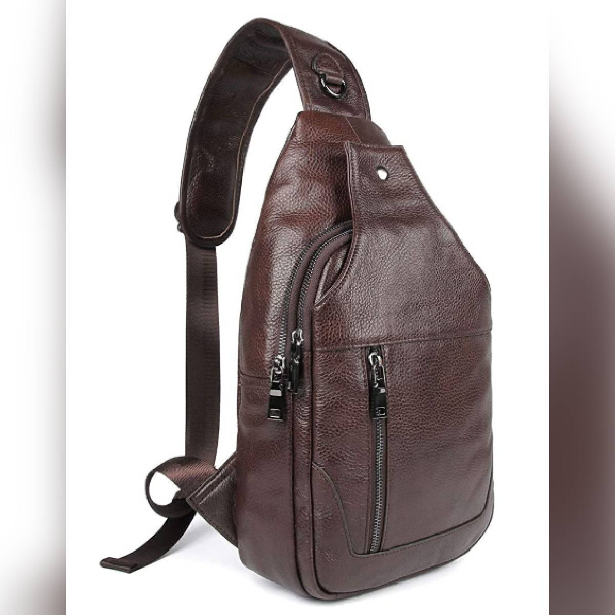Pu Leather cross body  Bag for men anti theft casual travel bag Shoulder Backpack Sling Chest bag for Bicycle Sport Hiking Travel Camping Bookbag Men Women