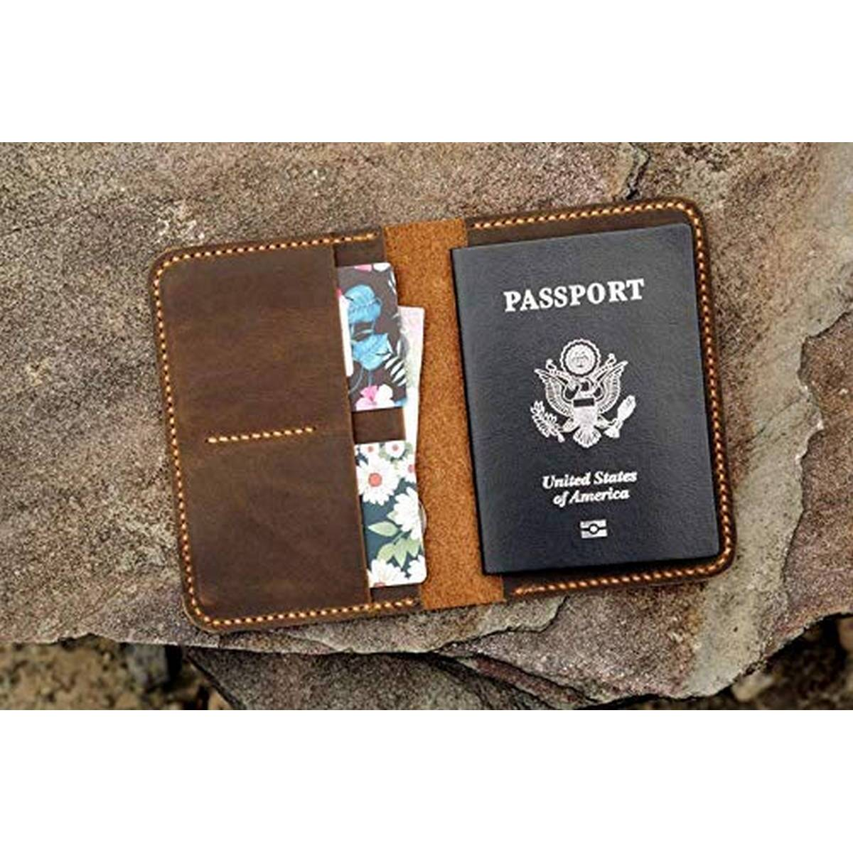 Leather Passport Cover - Travel Accessories Holder - Brown