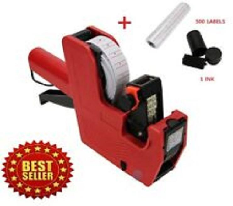 8 Digit Price Tag Machine Labeller + 5000 Label Stickers Roll + 1 Ink Roller - Multicolour