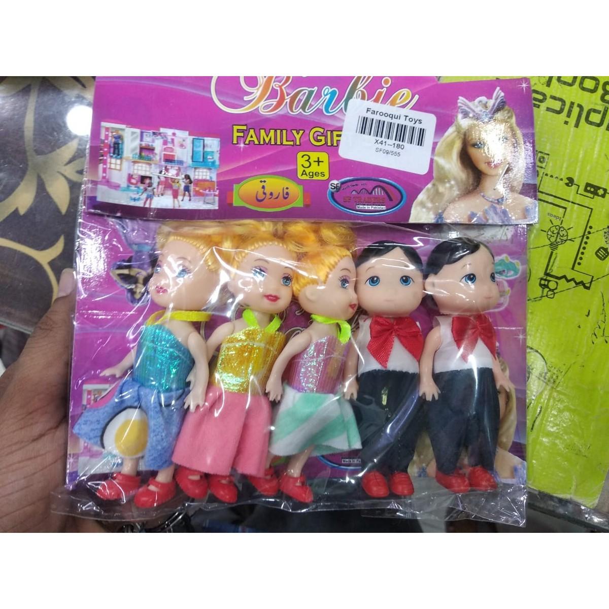 5 Piece Dolls Set 2 Boys 3 Girls Dolls Kids Toy Set Fancy Dress Dolls