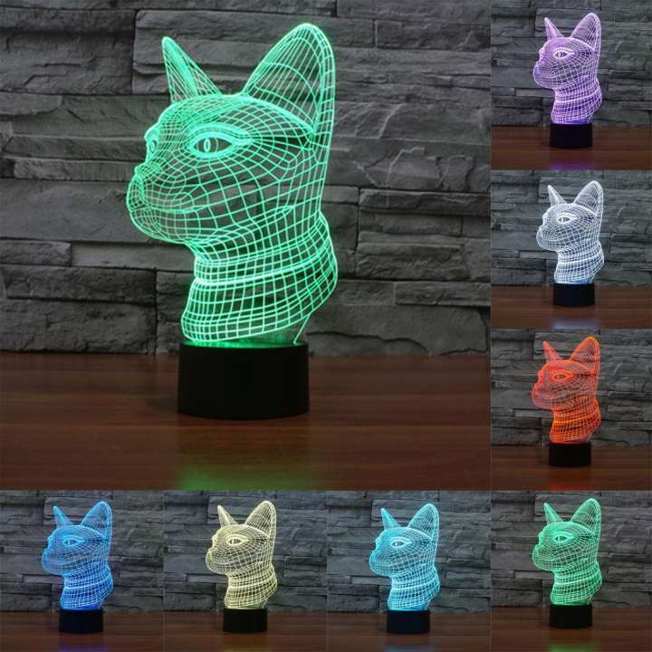 Side Face Cat Style 3D Touch Switch Control LED Light , 7 Color Discoloration Creative Visual Stereo Lamp Desk Lamp Night Light