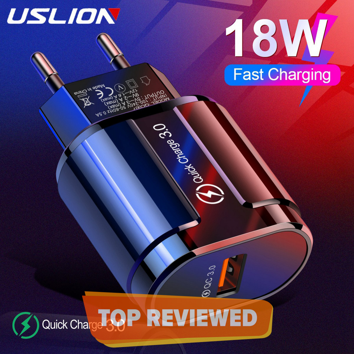 USLION Qualcomm QC 3.0 Fast Charger 3A 18W Quick Charge For All Brands / For Samsung / Iphone / HTC / Infinix / Xiaomi / Huawei / Nokia / Lenovo - Black