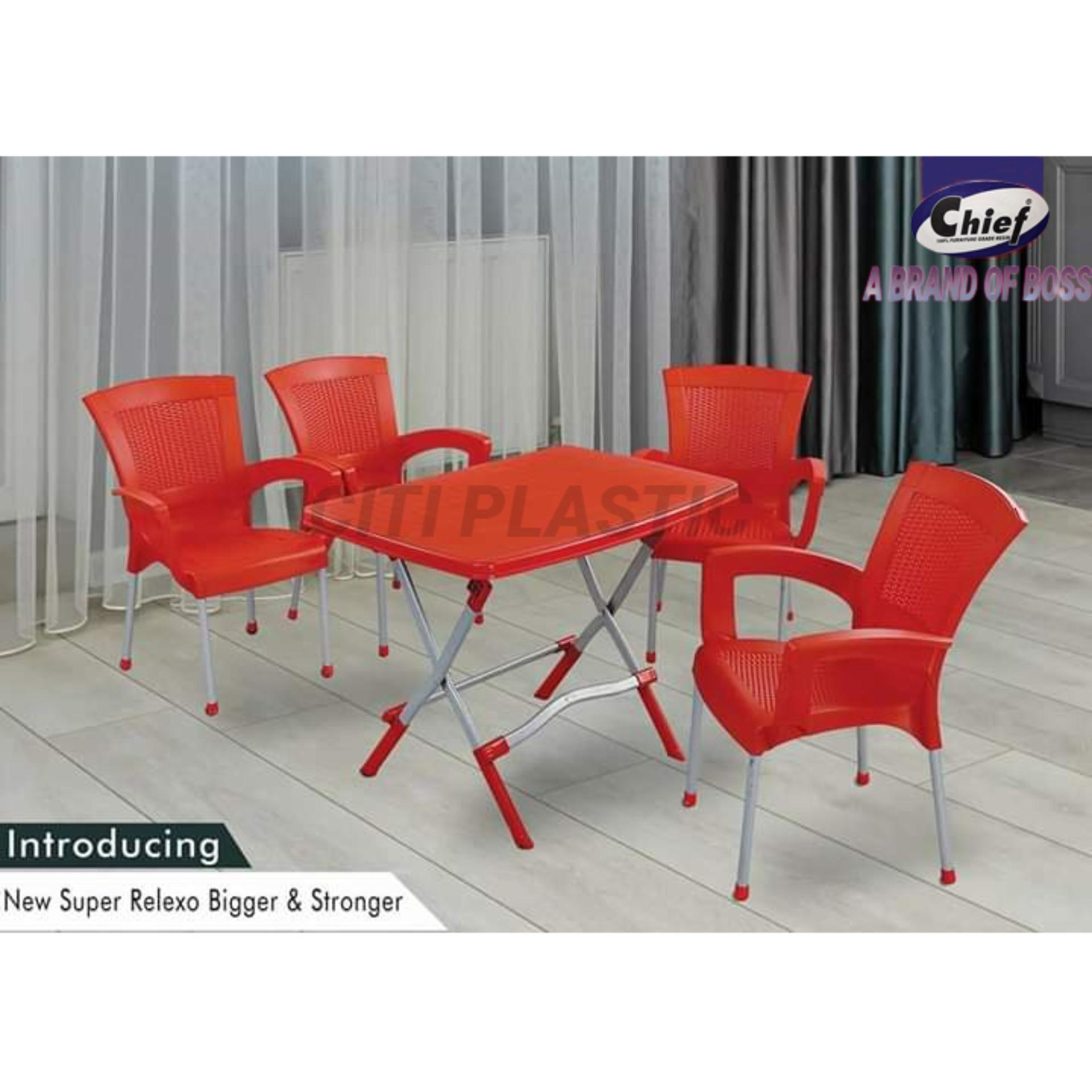 Set Of 4 Relaxo Plastic Chairs Indoor Outdoor Chairs Chief Boss Chairs And Steel Frame Folding Dining Table Boss Red Buy Online At Best Prices In Pakistan Daraz Pk