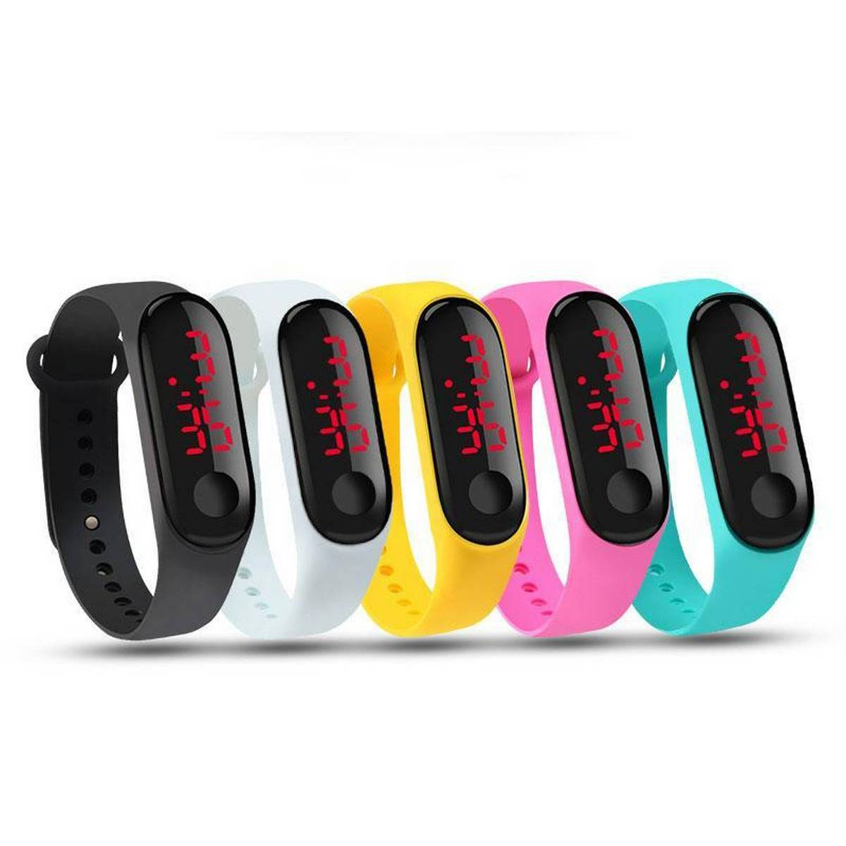 Pack Of 5 Rubber Led Sports Watch - Multicolour
