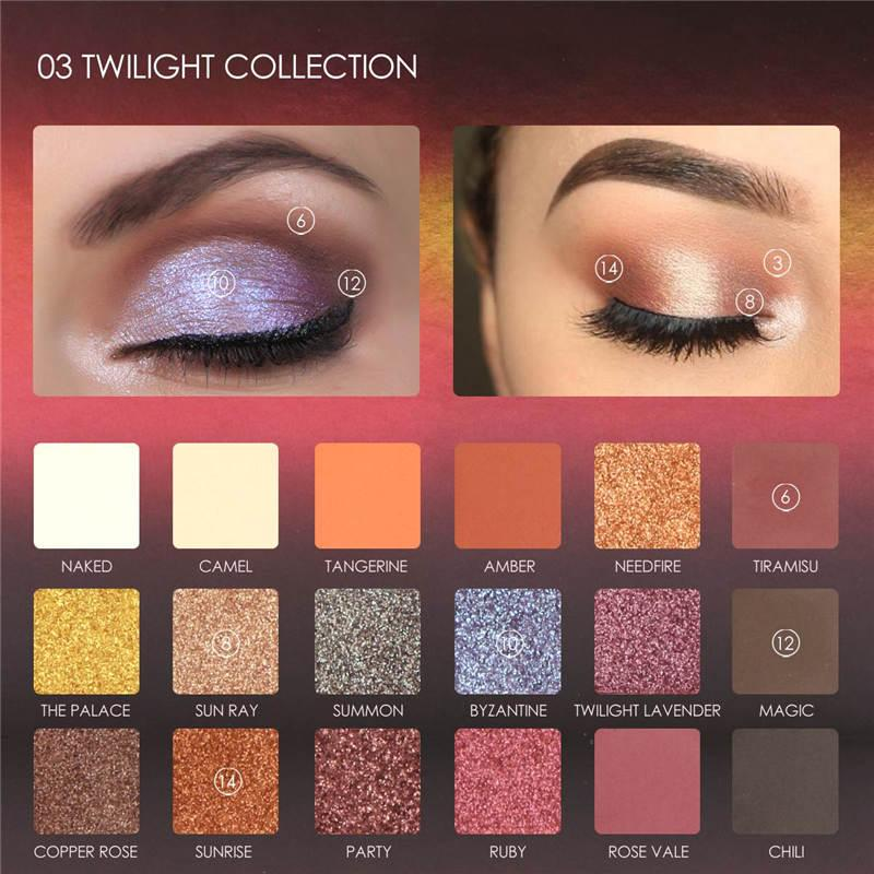 Focallure™ Metallic Day To Night 18-Color Eyeshadow Palette (Twilight)