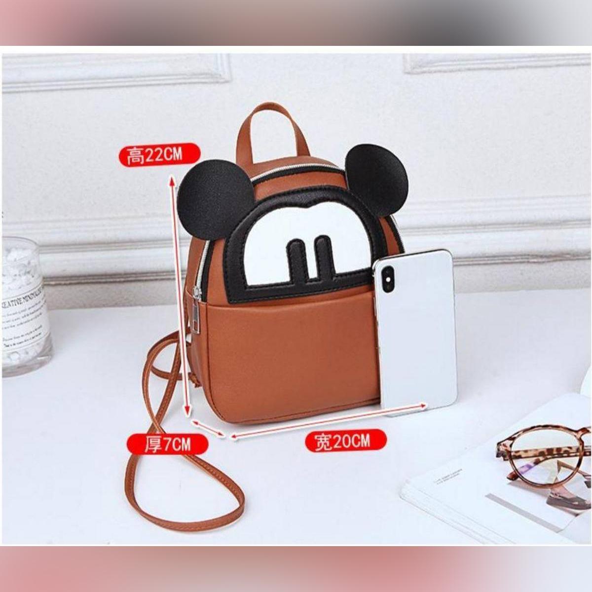 3 Styles Use Girls Mini Bear Bag,(Backpack+Side Shoulder Bag,Hand Carry)
