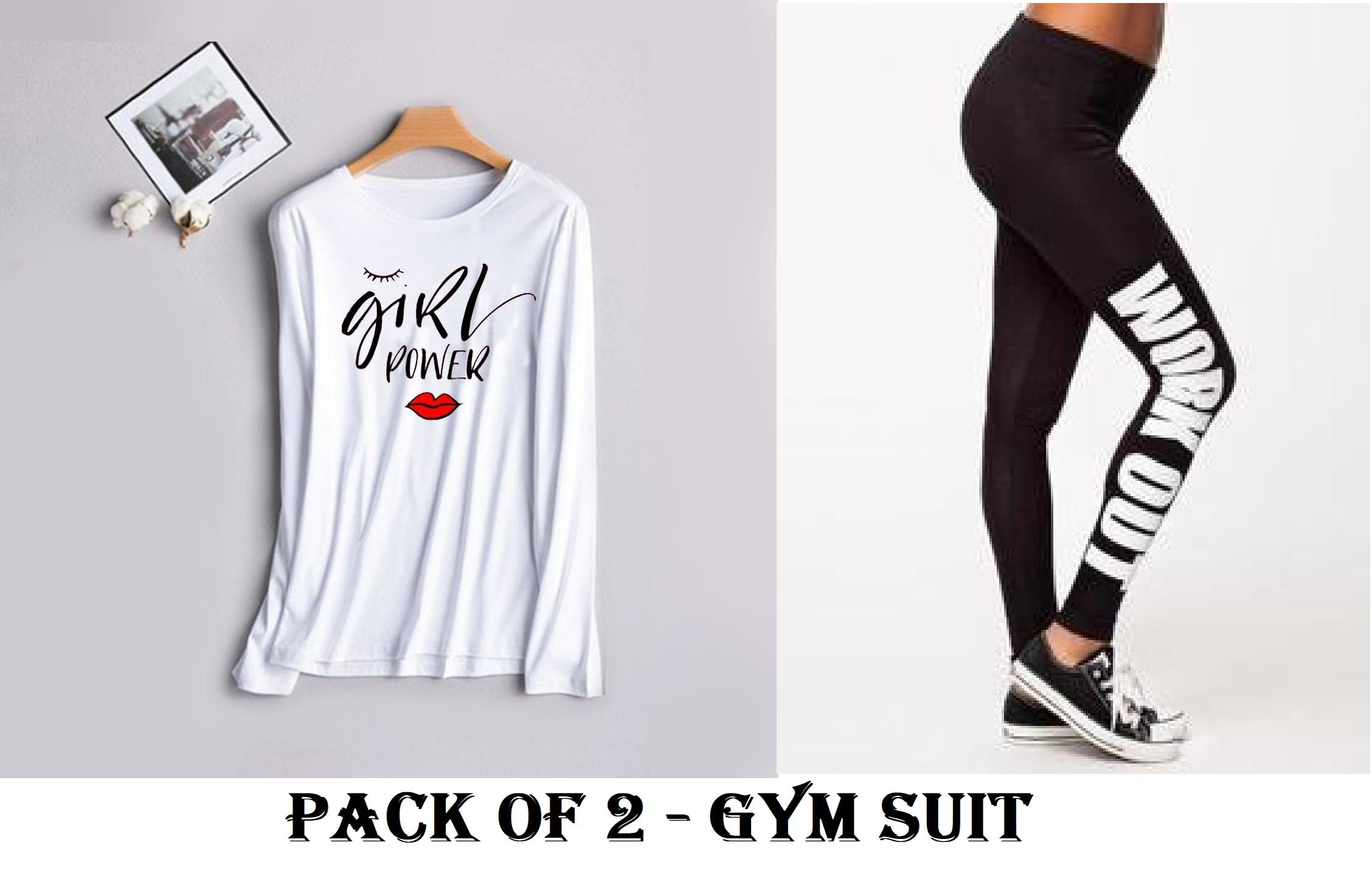 GIRL POWER Track Fitness Jogging Training Gym Suit for Women