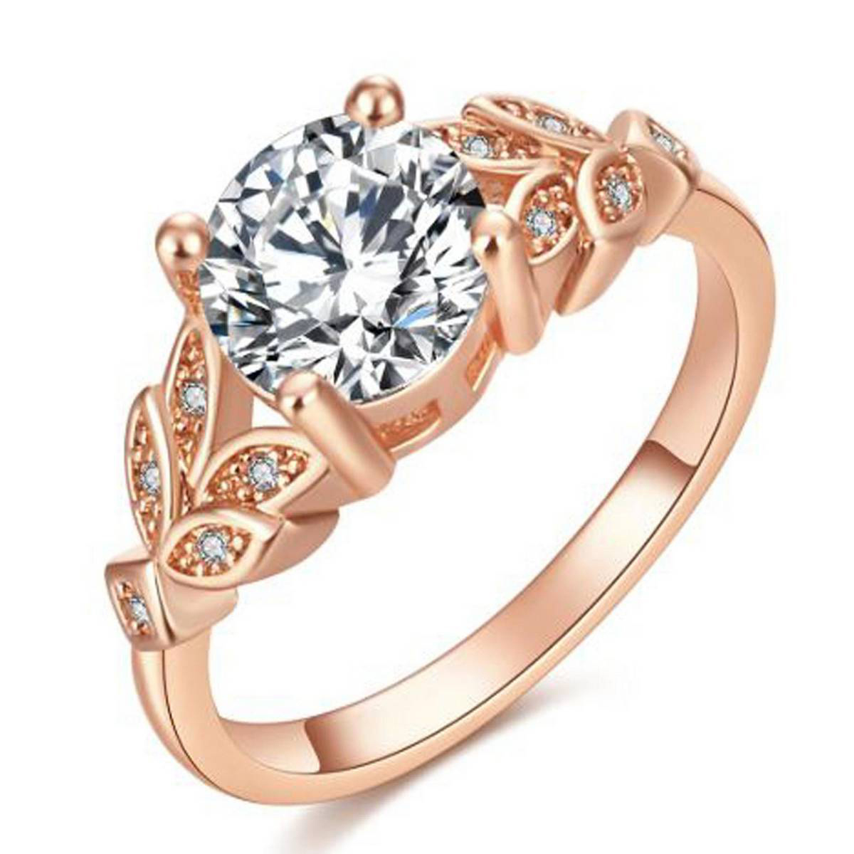 Fashion Elegant Silver Ring Crystal Rings for Women Girls Wedding Rings Engagement Anniversary Leaf Cubic Zircon Ring Jewelry