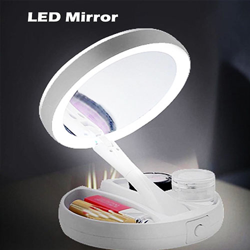 Foldable LED Makeup Mirror White USB and Battey Power