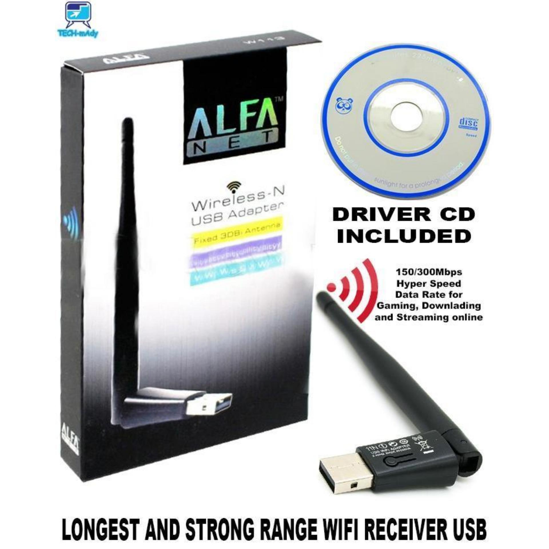 Alfa Wifi Net Wireless-N USB Adapter Fixed 3DBi Antenna Soft AP Wifi Utility For Windows For Pc - W113 also for receiver