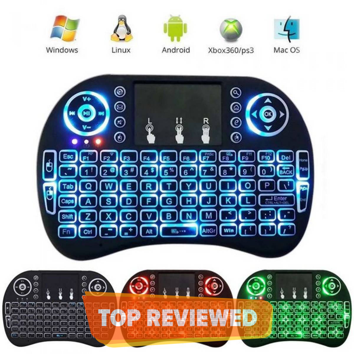 Mini Wireless Keyboard RF-500 with 3 Color RGB Backlit, 2.4GHz Wireless Mini Keyboard Rechargeable Controller with Touchpad Mouse Combo, Compatible with Android TV Box, IPTV, HTPC, Smart TV, PC,etc. Lighting Keybaord, Gaming Keybaord for Android TV