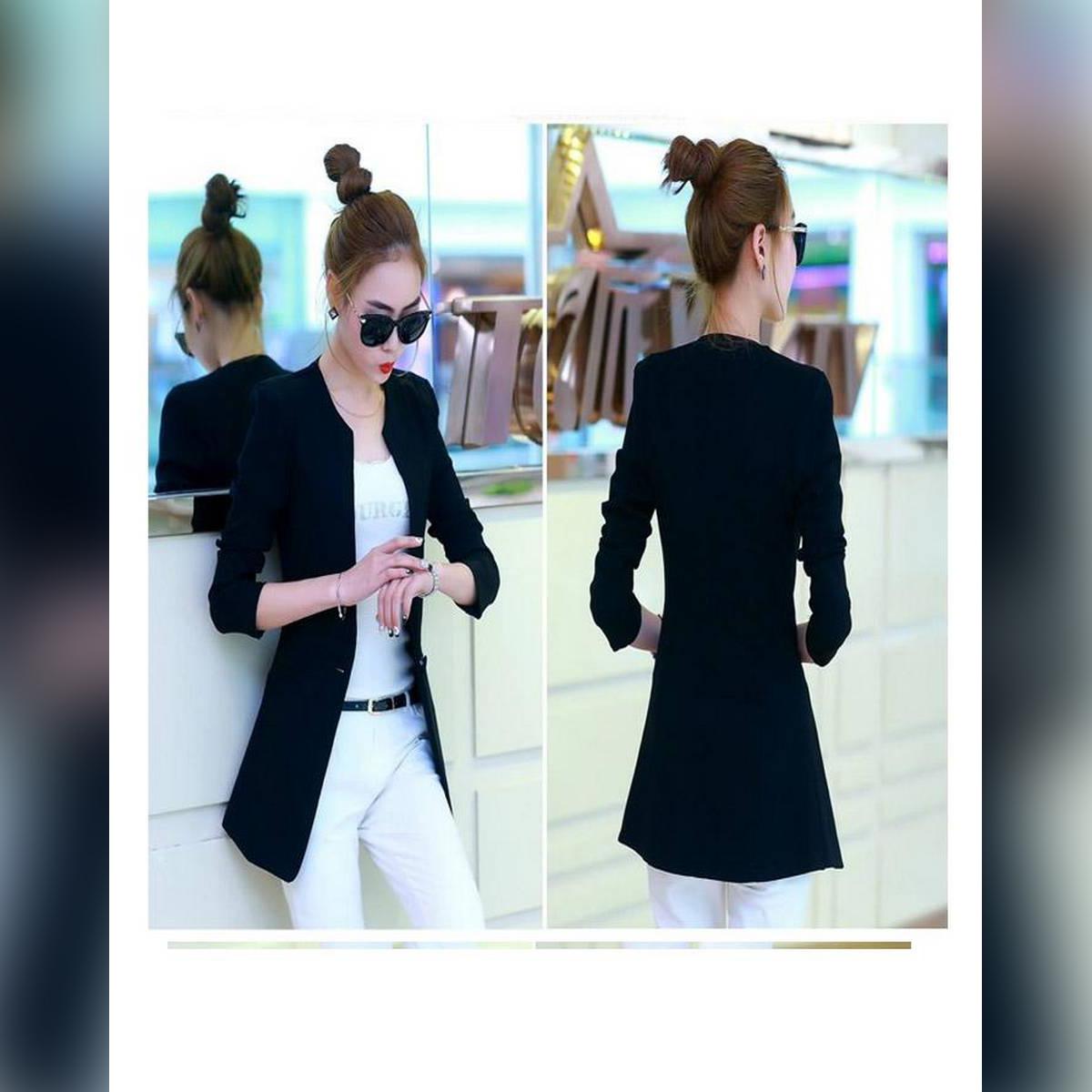 Women Stylish O-Neck Trench Outerwear Long Coat
