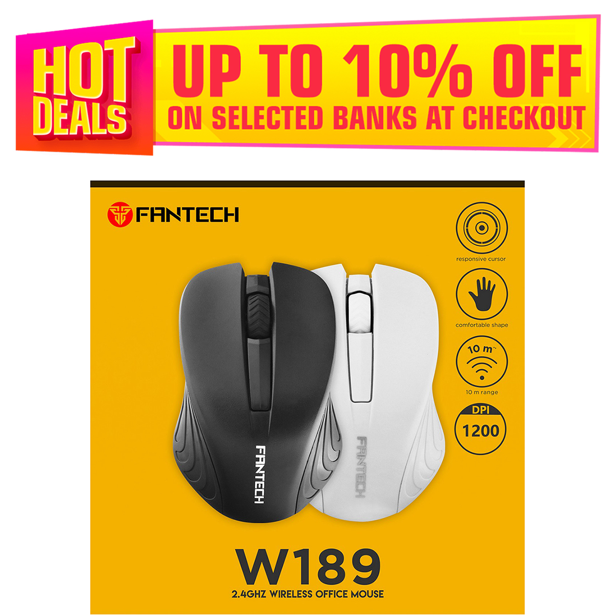 FANTECH W189 Wireless Office Mouse 1200 DPI 10M Range Comfortable Ergonomic With Responsive Cursor For Pc Laptop