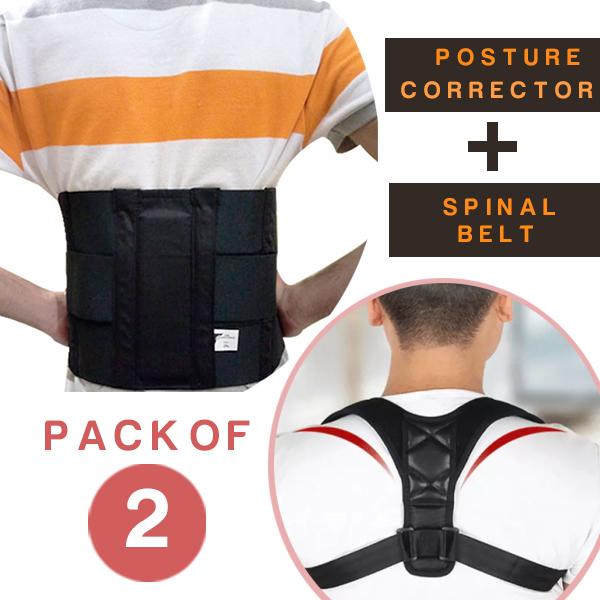 Pack of 2 Adjustable Magnetic Therapy Posture Corrector Brace Shoulder Back Support Belt for Male Female Braces and Supports Belt
